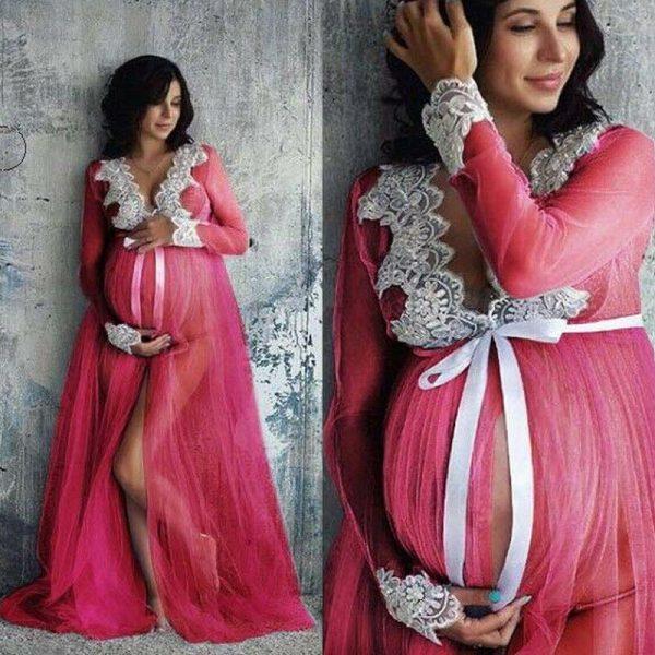 שמלה תחרה וי הריון