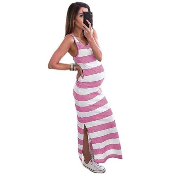 שמלת הריון פסים שסע יפה נוחה