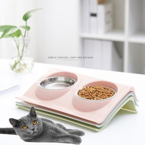 כערה כפולה למזון ומים לכלב וחתול