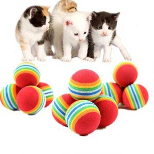 1/5/10Pcs משחק לחתולים כדור צבעוני